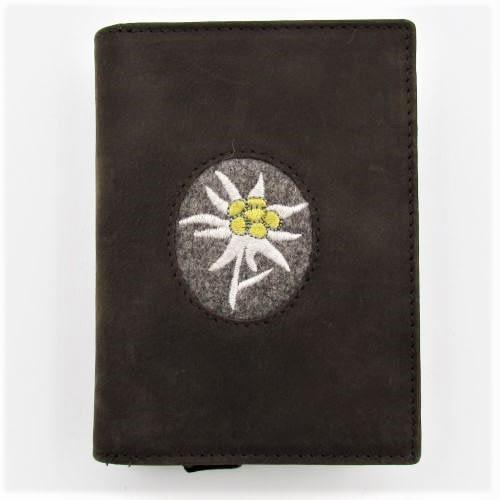 Reissverschluss-Portemonnaie mit Edelweiss